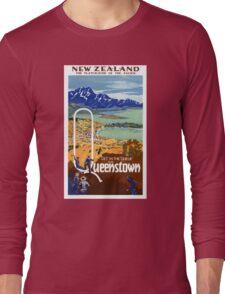 New Zealand Vintage Travel Poster Restored Long Sleeve T-Shirt