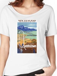 New Zealand Vintage Travel Poster Restored Women's Relaxed Fit T-Shirt