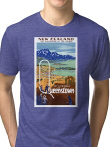 New Zealand Vintage Travel Poster Restored Tri-blend T-Shirt