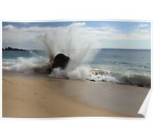 Waves Crash on the Beach at Big Sur Poster