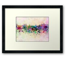 Budapest skyline in watercolor background Framed Print