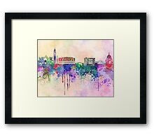 Venice skyline in watercolor background Framed Print