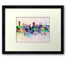 Vienna skyline in watercolor background Framed Print