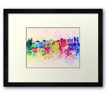 Brussels skyline in watercolor background Framed Print