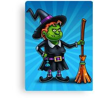 Witch Cartoon Character Digital Painting Canvas Print