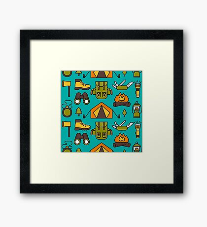 Camping Pattern Framed Print
