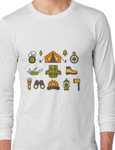 Camping Pattern Long Sleeve T-Shirt