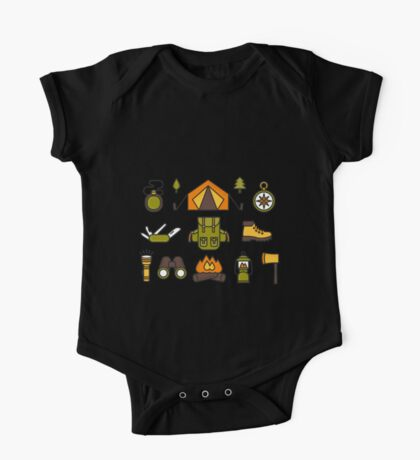 Camping Pattern One Piece - Short Sleeve