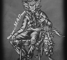 Chalk Mad Hatter with March Hare Wonderland Drawing by ArtistryByLM