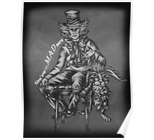 Chalk Mad Hatter with March Hare Wonderland Drawing Poster