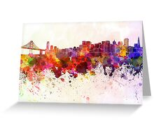 San Francisco skyline in watercolor background Greeting Card