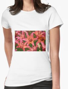 Orange lily flowers Womens Fitted T-Shirt
