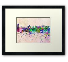 Bratislava skyline in watercolor background Framed Print