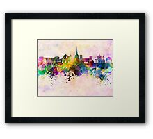 Turin skyline in watercolor background Framed Print