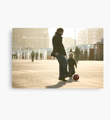 Father-Son Footie Canvas Print