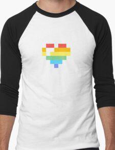 Rainbow Pixel Heart Men's Baseball ¾ T-Shirt