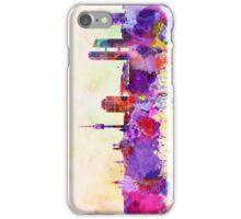 Munich skyline in watercolor background iPhone Case/Skin