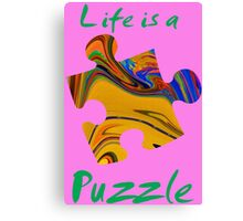 Life is a puzzle, green  Canvas Print