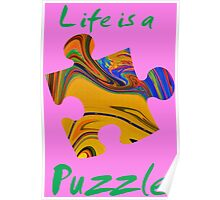 Life is a puzzle, green  Poster