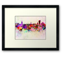 Stockholm skyline in watercolor background Framed Print