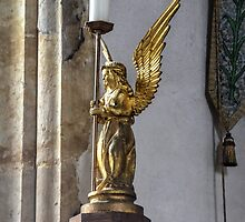 Angel Candle Holder at St Marys Church, Burton Bradstock by lynn carter