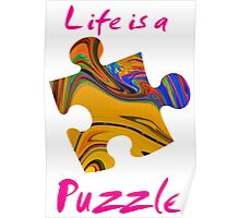 Life is a puzzle, red Poster