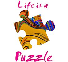 Life is a puzzle, red Photographic Print
