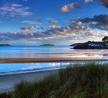 Abersoch Warren beach golden light and blue sea. by Turtle  Photography