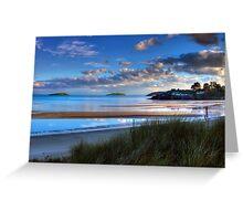Abersoch Warren beach golden light and blue sea. Greeting Card