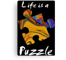 Life is a puzzle, white Canvas Print