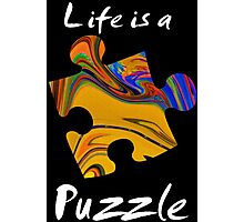 Life is a puzzle, white Photographic Print