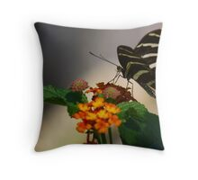 Zebra Longwing Butterfly Profile Throw Pillow