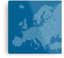 Europe map in blue Metal Print
