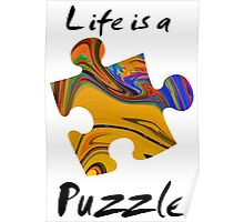 Life is a puzzle, black  Poster