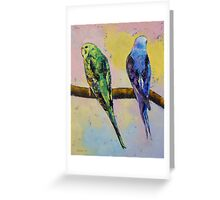 Green and Violet Budgies Greeting Card
