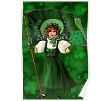 GATHERING SHAMROCKS IN A FROCK ALL MADE OF GREEN -SAINT PARTICKS DAY PILLOW,TOTEBAG- PICTURE AND OR CARD Poster