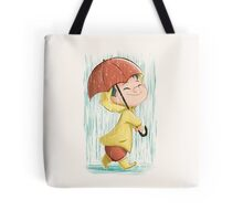 Kid Marching in the Rain Tote Bag