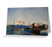 Loading wool bales, West Falklands Greeting Card