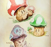 Mario Mushrooms Botanical Illustration by 84Nerd