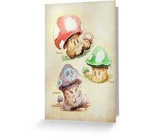 Mario Mushrooms Botanical Illustration Greeting Card