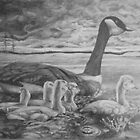 Goslings In Storm by Phyllis Dixon