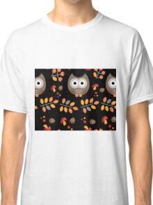 Cute Brown Owl Autumn Pattern Classic T-Shirt