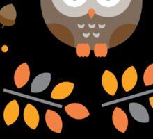 Cute Brown Owl Autumn Pattern Sticker