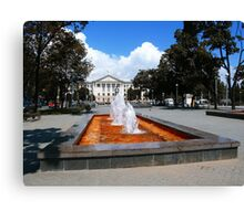 Red fountain. Zaporizhzhya, Ukraine. Canvas Print