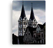 Ein Ratthaus am Rhein in Westfalen FDR. Canvas Print