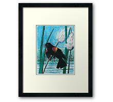 Red Wing Black Bird - Oil Pastel Framed Print