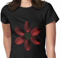 Red and Green Gem Style Flower Womens Fitted T-Shirt