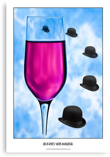 Cocktails with Magritte - Titled Print by Mark Podger
