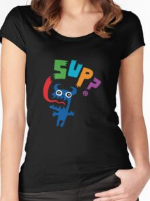 SUP?  on darks Women's Fitted Scoop T-Shirt