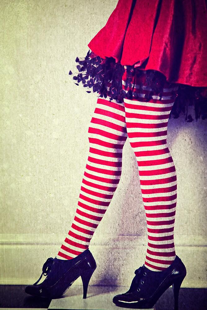 Red stripy socks by Sharonroseart